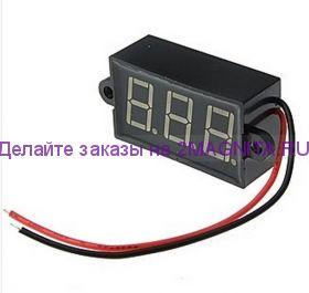 Вольтметр электронный водостойкий 3.5-30VDC blue IP68  3.5-20в